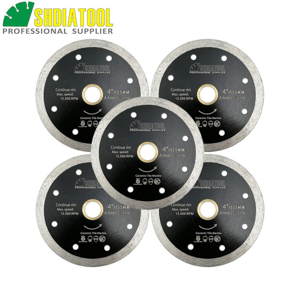 SHDIATOOL 5pcs 105mm Hot-pressed Thin Continue Rim Diamond Cutting Blades Hard Material Ceramic Tile Cutting Disc Chip-free