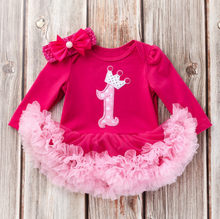 New Birthday Gifts Newborn Baby Costumes Kids Romper Girls Long sleeve tutu Dress+Headband Set Princess Toddler Clothes Gifts(China)