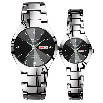 Automatic Quartz Non-mechanical Steel Color Steel Band Couple Watch Luminous Calendar Male And Female Waterproof Student Watch full automatic mechanical man wristwatch waterproof steel band fashion calendar watch attached leather strap