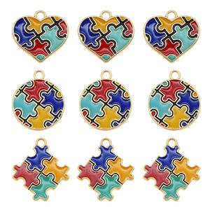 3PCS Alloy Enamel Puzzle Piece Jigsaw Pendant Colorful Round Heart Shape Kids Gift Autism Awareness Necklace DIY Findings(China)