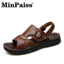 Men's Leisure Sandals - MINPAISS - New Beach Shoes, Adolescent Leather Slippers and Fashion Shoes 17 new models of high end goods leather shoes leisure shoes fashion shoes