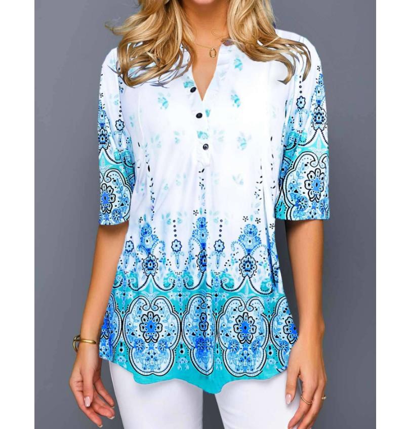 Shirt Fashion 2020 Large Size Tops Women  Casual V Neck Shirt Ladies Blouse Loose Floral Print Tunic Shirt