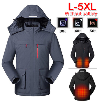 L-5XL Men Winter USB Heating Jackets Hooded Winter Thermal Clothing Waterproof Climbing Skiing Coat
