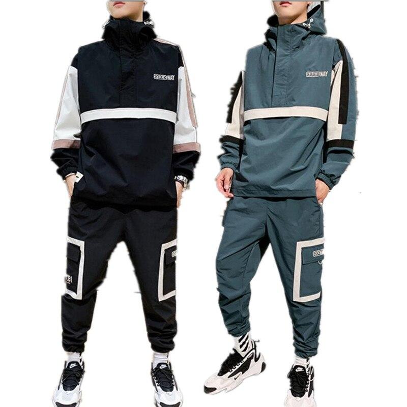 Men's Sports Suits Loose Printing Casual Jacket+Sports Pants 2PCS Autumn Suit Zipper Black Fashion Jogging Track Suit