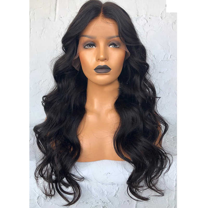 LUFFYHAIR Body Wave Lace Frontal Human Hair Wigs 180% Full Density Brazilian Remy Hair Glueless 13x6 Lace Front Wigs Black Color
