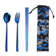 Hot Sale Travel Cutlery Stainless Steel Dinnerware Set Kitchen Forks Spoons Chopsticks Camping Tableware Sets