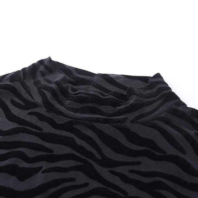 Black Mesh Transparent Bodysuit Long Sleeve Slim Skinny Stripe Mock Neck