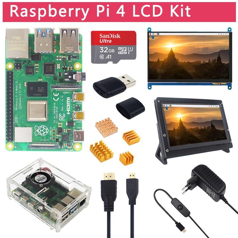 Raspberry pi 4 modelo b kit lcd + 7 polegada tela sensível ao toque suporte 64 32 gb cartão sd ventilador dissipador de calor potência micro hdmi para pi 4