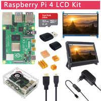 Kit de LCD Raspberry Pi 4 Modelo B + pantalla táctil de 7 pulgadas + soporte + tarjeta SD de 64 32 GB + ventilador + disipador de calor + potencia + Micro HDMI para Pi 4