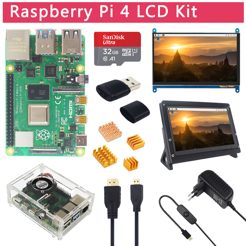 Raspberry Pi 4 Model B LCD Kit + 7 Inch Touch Screen + Holder + 64 32 GB SD Card + Fan + Heat Sink + Power + Micro HDMI For Pi 4