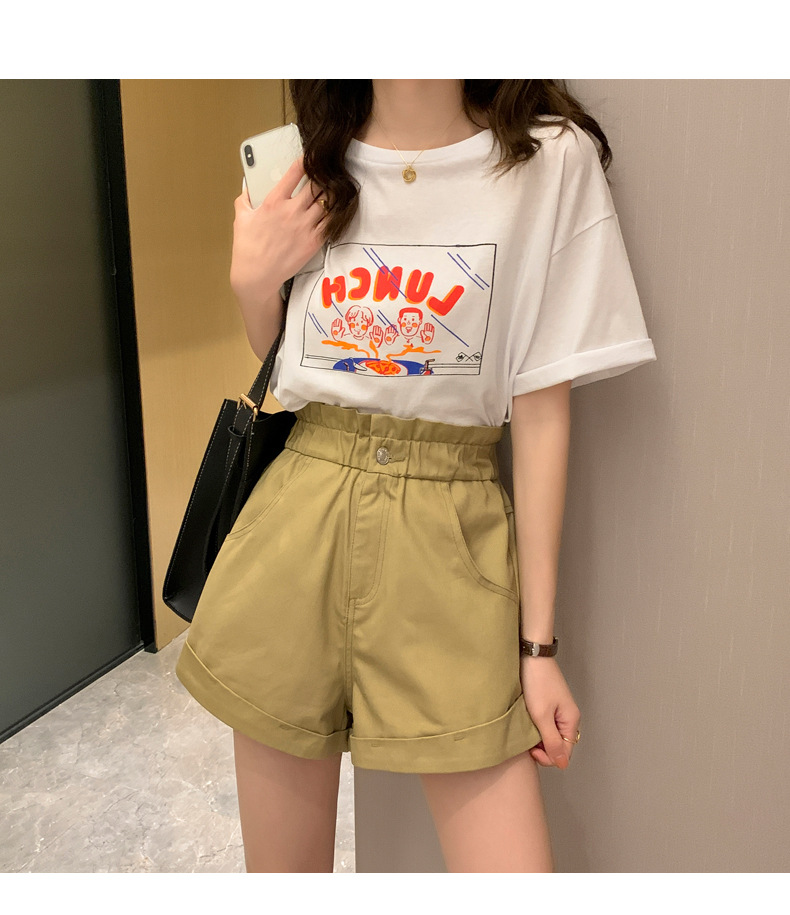 Women Hot High Waist Casual Wide Leg Female Shorts New Fashion 2020 Summer Plus Size Short  Black