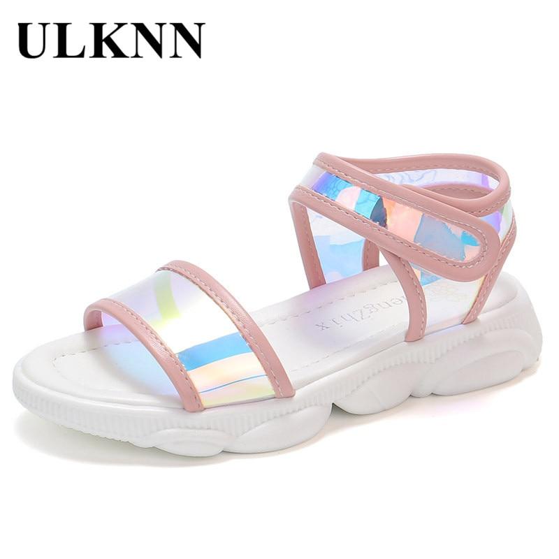 ULKNN Children Shoes Rome Microfiber Flat Beach Shoes Gladiator Girls Sandals Kids Summer Shoes For Girls Casual Sandals