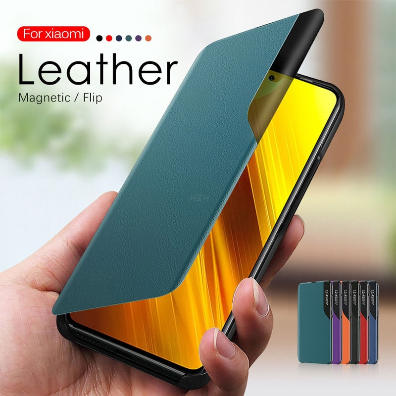 Magnetic Smart View Case For Xiaomi 11 Redmi Note 10 9 9S 8 8T 9T 10T Lite K40 Pro 9A C POCO M3 X3 NFC Leather Stand Phone Cover