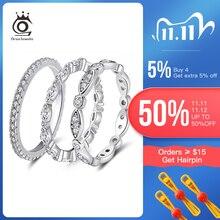 ORSA جواهر حقيقية 925 فضة خواتم النساء AAA مكعب الزركون موضة خاتم الزواج خاتم الاصبع المستديرة للسيدات SR71