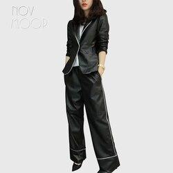 Novmoop, модный Женский блейзер из натуральной овечьей кожи, широкие штаны, комплект из двух предметов, conjunto feminino roupa feminina LT2898