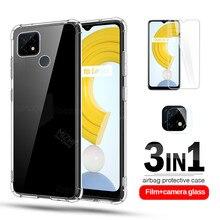 Caso para realme c21 capa 3in1 lente da câmera de vidro protetor para realme c 21 21c realmy c21 silicone transparente capa do telefone coque