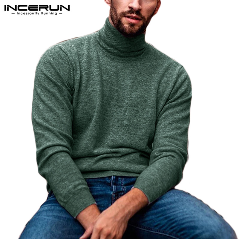 INCERUN Fashion Turtleneck Sweater Men Long Sleeve Solid Color Casual Knitted Pullovers Streetwear Fitness Thin Sweaters Hombre