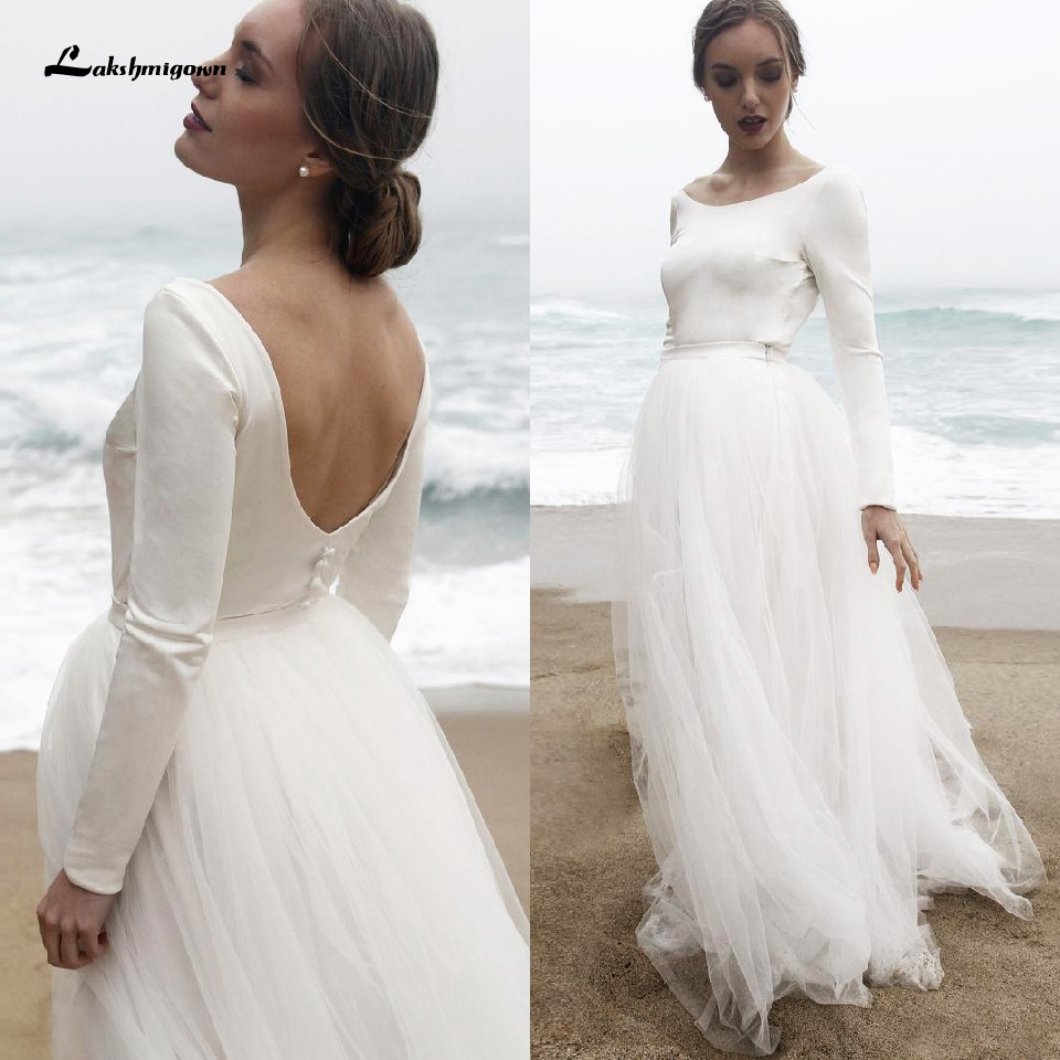 Lakshmigown Classy Wedding Dress Satin Long Sleeve Beach Style 2020 Hochzeit Boho Wedding Dress Elegant Tulle Long Bridal Gowns