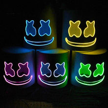 DJ Marshmallo LED Masker Bercahaya Helm Diy Bar Pesta Musik Marshmello Masker Alat Peraga Cosplay(China)
