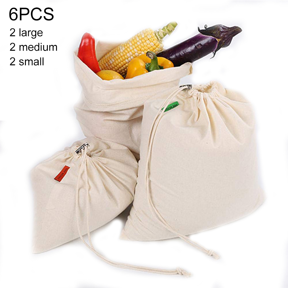 6Pcs Reusable Mesh Grocery Shopping Produce Bags Eco-Friendly Fruit Vegetable Bags Hand Totes Home Storage Bag Shopping Packs