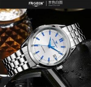 Image 5 - Fngeen ブルーリベット機械式時計カレンダー防水鋼ストラップ中空ダイヤルレロジオ masculino