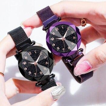 Reloj De Pulsera De Cuarzo De Acero Inoxidable Con Imán Iluminado Para Mujer, Reloj De Pulsera Con Cielo Estrellado, Reloj De Vestir Para Mujer, Relojes De Lujo Para Mujer