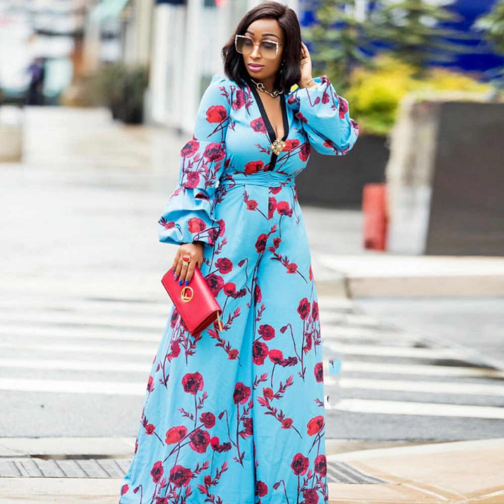 Wide Leg Pants Jumpsuit Rompers Women V-Neck High Waist Overalls Streetwear African Print Clothing South Africa Dashiki Dress
