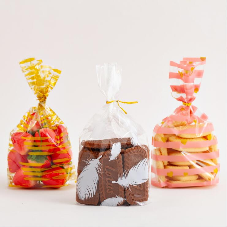 100 pces 13*21cm bonito padrão doce embalagem saco de plástico ins estilo saco de doces aberto superior opp poli baking bolo sacos