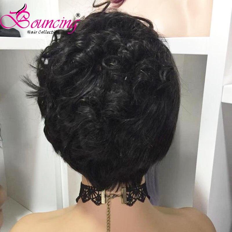 Springenden remy Haar Spitze Front Menschenhaar Perücken Natürliche Farbe Kurze Pixie Cut Perücke 150% 13x4 perücke Seite teil Für Frauen Niedrigen Verhältnis - 4