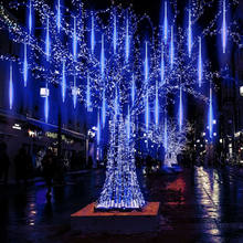 1PC Waterproof 30cm 50cm EU 8 Falling Rain Drop/icicle Snow Fall String LED Meteor Shower Rain Tubes Xmas Party Decor Tree Light(China)