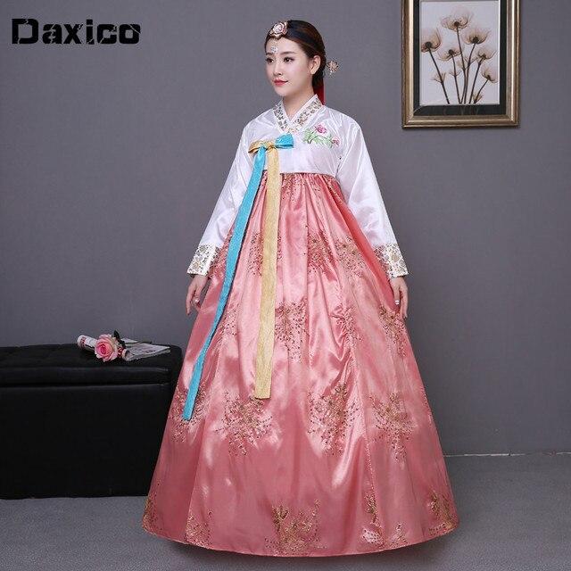 Cekinowy koreański tradycyjny strój hanbok kobieta Korea pałac kostium hanbok sukienka narodowa odzież do tańca na pokaz sceniczny 89