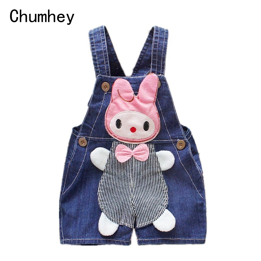 9M-3T Baby Girls Jeans Overalls Shorts Infant Toddlers Kids Denim Rompers Cute Rabbit Jumpsuit  For Summer Children Clothes