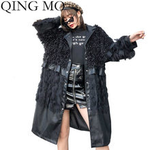 QING MO Fashion Brand Winter PU Women Cat 2019 Women Plus Size Loose Trench Female Black Turn Down Collar Long Coat ZQY1819(China)