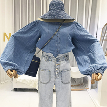 Denim Slash Neck Women Blouse Beach Style Puff Sleeve Ladies Tops Solid Korean Womens Clothing  and Blouses