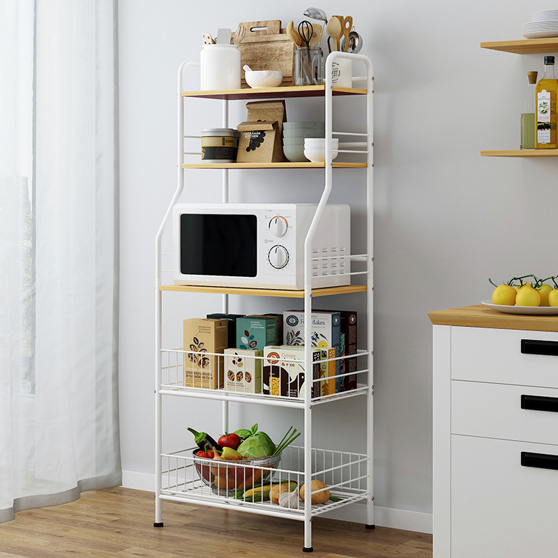 Storage Shelf Floor-type Multilayer Household Creative Microwave Oven Storage Rack Simplicity Kitchen Province Space Hole Punche