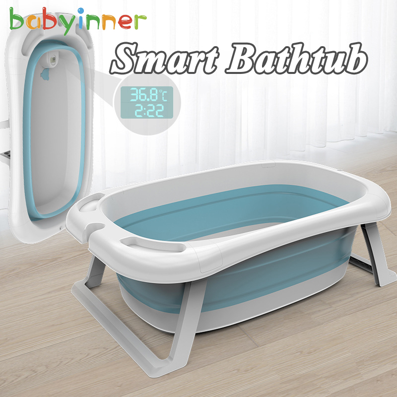 Babyinner Folding Baby Bath Tub Intelligent Temperature-sensing Bathtub Thickened Baby Swim Tubs Children Eco-friendly Supplies