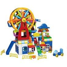 Сборка строительных блоков колесо обозрения парк развлечений крупная частица детский интеллект Diy Собранный кирпич подарочные игрушечные блоки