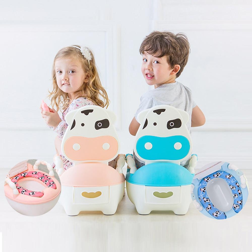 Baby Potty Portable Pot Cartoon Toilet Seat Urinal For Children Toilet Bowl Training Pan Kids Bedpan Comfortable Backrest Pots