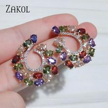 ZAKOL Brand Wedding Jewelry Fashion High Quality Clear Cz Zircon CC Shape Stud Earrings for Women Crystal Party FSEP069