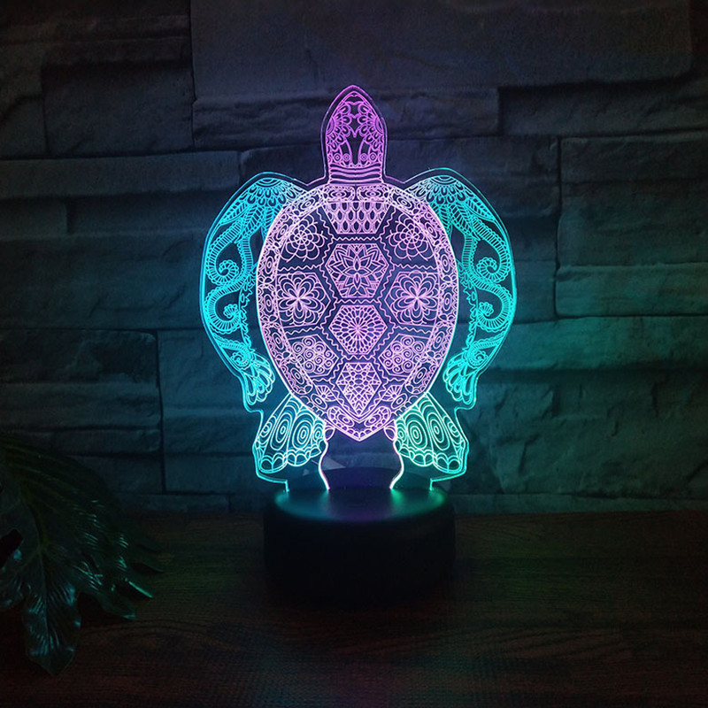 Sea Turtles 3D Lamp LED Touch Light Colorful Animal Lamp Birthday Party Decoration Usb Table Lamp For Kid's Toys Gift Tortoise
