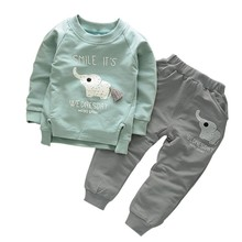 Baby clothes set 2Pcs Set Long Sleeve Warm Cotton Character Pullover T-Shirt+Pant Kid Girl Boy Outfits new coat