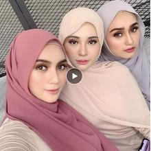 A 42 High Quality Plain Bubble Chiffon hiajb scarf Shawls wo