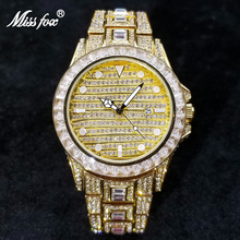 MISSFOX Hip Hop Watches For Men Luxury Full Diamond Iced Out Watch Bling Gold AAA Brand Male Clock Waterproof Relogio Masculino