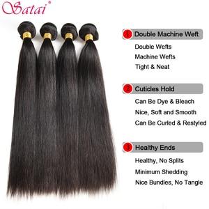 Image 4 - Satai Straight Human Hair Bundles 3 Bundles 8 30 inch M Remy Hair Bundles Brazilian Hair Weave Bundles 100% Human Hair