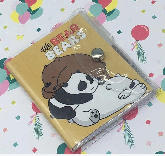 Kawaii Bare Bear Cartoon With Ballpoint Pen Mini Book Set Portable Pocket Notebook Diary Notepad