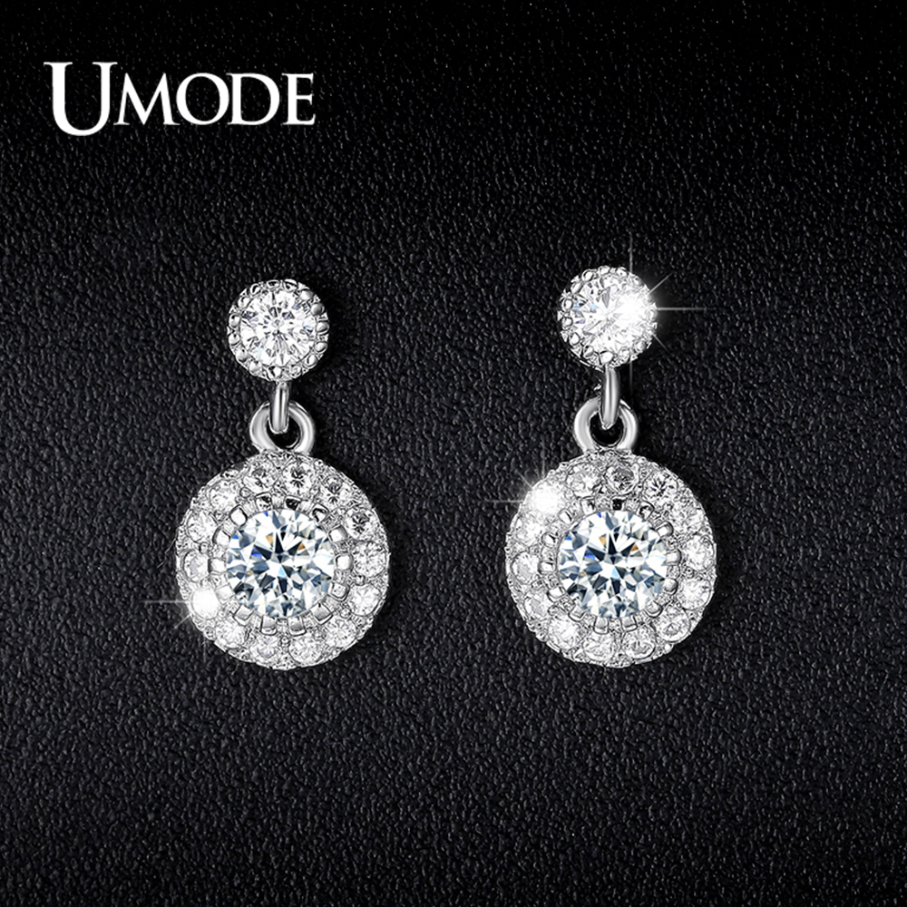Купить с кэшбэком UMODE Fashion White Gold Color Drop Earrings for Women CZ Crystal Earring Orecchini Fashion Jewelry Anillos Mujer Femme AUE0097