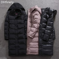 DHfinery 2020 new mens winter down jacket long design 80% white duck down coat Large hooded down coat at minus 30 degrees W556
