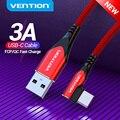 Vention USB Type C кабель 3A правый угловой зарядный кабель Быстрая зарядка игра для Samsung S10/Xiaomi mi9 10 pro USB C телефонные кабели