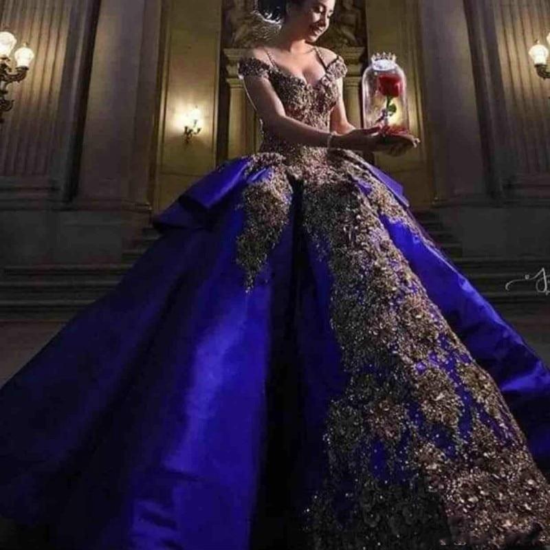 Gorgeous Satin Royal Blue Quinceanera Dresses Short Sleeves Beaded Lace Applique Princess Engagement Formal Long Dress