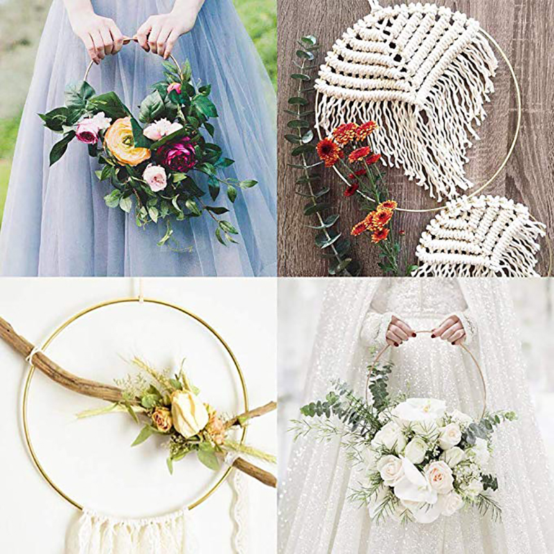 10-40cm Gold Iron Metal Ring Wedding Decoration Bride Wreath DIY Catching Dream Hoop Material Artificial Flower Rack Craft Hoops